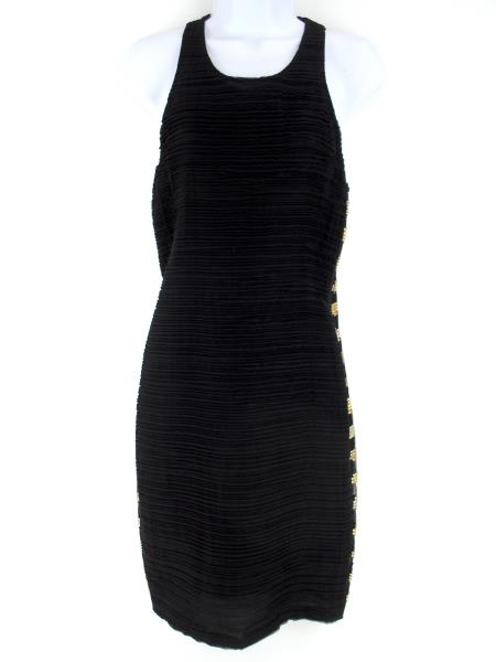 Vtg 1990s VERSACE Silk Bandage Dress Black Rhinestone Sides Sz 10