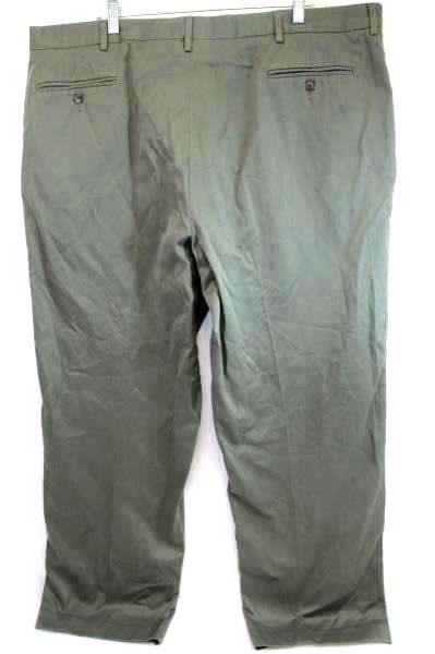 Khaki Pants Olive Green Flat Front Men's Size 44 Long Unbranded Cotton Blend