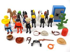 Vtg Playmobil Horses and Sherrifs Wild West Settlers Army Large Lot 30+ pcs