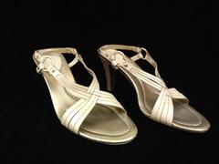 COLE HAAN Cathlin Sandal Pearl Calf Leather Heels Criss Cross Open Toe Sz 8