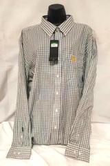 Antigua Black White Plaid Checkered Iowa Hawkeye's Dress Shirt Men's Size 2XL