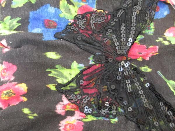 Tanktop Shirt by No Boundaries Black Multicolor Floral Design Women's Size 3-5