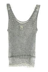 Georgiou Studio Women's Gray Sleeveless Open Knit Beaded Top Size P