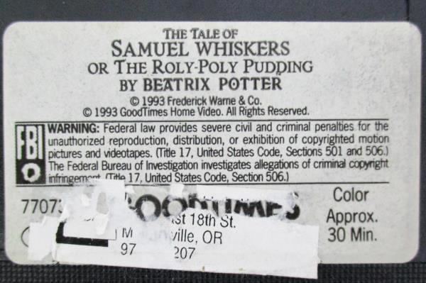 1993 Beatrix Potter VHS The Tale of Samuel Whiskers / The Poly-Poly Pudding