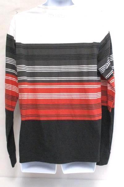 Micros Long Sleeve Striped Gray Red White Henley Shirt Men's Large