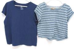 Lot of 2 Women's Short Sleeve Tops Mudd Gap Blue Striped Size Large