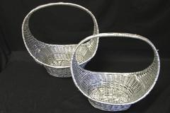 """Pair of Oval Silver Willow Baskets Home Decor 12.5"""" x 8.5"""" & 14.5"""" x 10"""""""