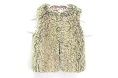 Genuine Kids Toddler Girls OshKosh Faux Fur Vest Floral Fabric Lined 2T S/P