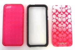 Lot of 3 Phone Cases for Apple iPhone 5 Pink Ombre Rhinestone Diamond Plaid