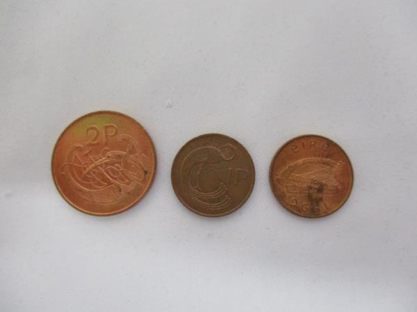 Lot of Three Coins From Ireland Dated 1995-2000 One Penny and 2 Pence