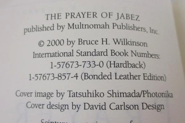 The Prayer of Jabez by Bruce Wilkinson Hardcover 2000 Multnomah