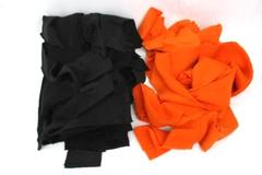"""2.88 Pounds of Black And Orange Fleece Strips For DYI Projects 4.5"""" x 66"""""""
