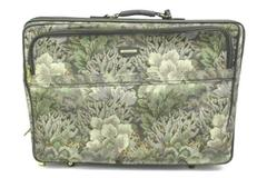 Vintage Jaguar Luggage Suitcase Brown, Green, Gray, Beige Floral Print w/ Wheels