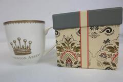 Downton Abbey Ceramic Gold Crown World Market Floral Mug Cup Collectors Box