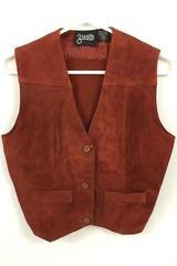 GADO Women's Bronzing Vest Waistcoat Leather Brown Size M