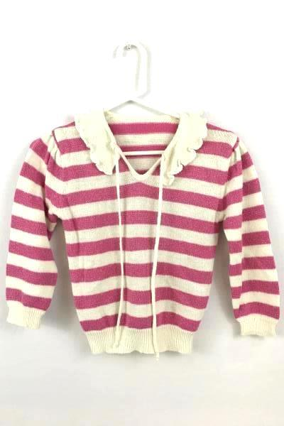 Wild Honey Long Sleeves White And Pink Stripe Sweater For Children Youth Size S