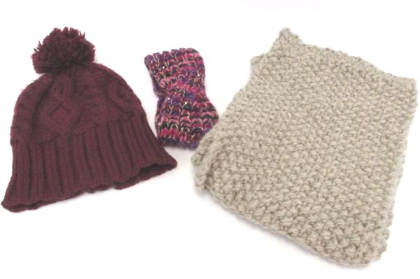 Lot of 3 Women's Knit Accessories Infinity Scarf Headband Ear Muff and Hat