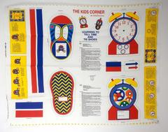 Fabric Traditions Kids Corner Tell Time & Tie Shoes Canvas Fabric Panel