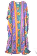Vintage 80s Winlar Lounge Gown Nightgown Mumu Purple Gold Floral One Size