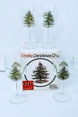 Set of 4 Spode Christmas Tree Wine Goblets