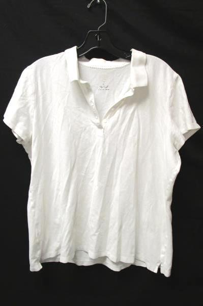 Women's White Buttoned V-neck Shirt By St. Johns Bay Size XL