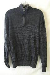 Men's Dark-Grey Zip Up Sweater By Buckle Black Size L 100% Cotton