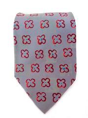 Classic ERMENEGILDO ZEGNA Slate Gray Red Flowers Pure Silk Neck Tie