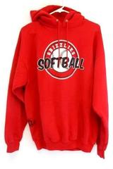 Port & Company Adult Athletic Red Grizzlies Softball Hoodie Sweatshirt Sz Large
