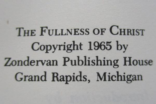 The Fullness of Christ by D. Stuart Briscoe 1979 Paperback