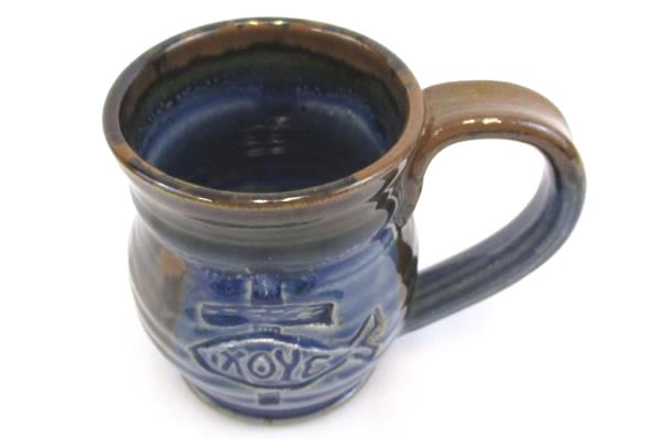Randy Holbrook Pottery Wheel Thrown Coffee Mug Blue Brown Christian Fish Symbol