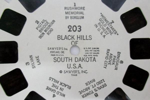 1948 Sawyers View Master Reel #203 Black Hills South Dakota Hand Lettered
