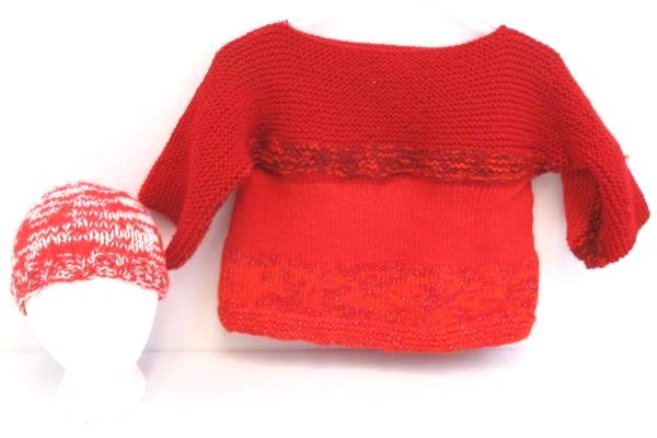 Girl's Handmade Knit Crop Sweater 3/4 Sleeves With Matching Hat Red M