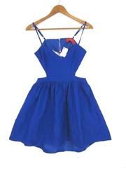 Akira Chicago Red Label Royal Blue Tulle Open Back Dress, Junior Sz Large