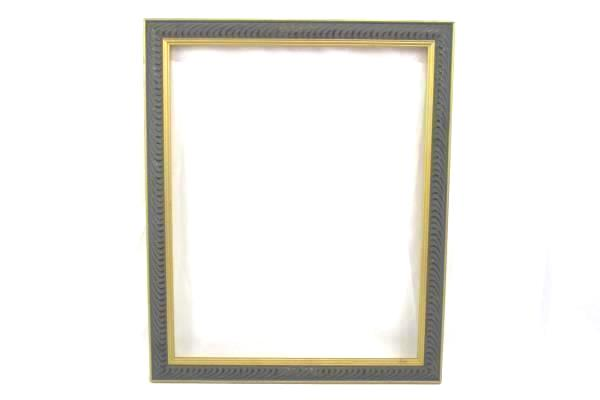 """Gold & Slate Gray Wood Picture Frame 22.75"""" x 19"""" Rib Wave Engraved Design"""