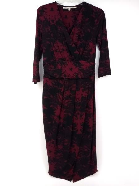 RACHEL ROY Faux Wrap Sheath Dress Ruched Waist Tulip Hem Pinot Noir Sz M