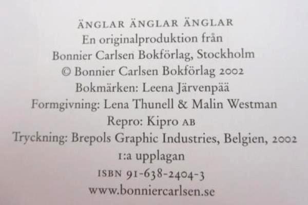 Änglar Änglar Änglar by Bonnier Carlsen Hardcover 2002 Swedish