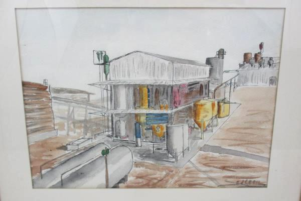 Grain Processing Plant Watercolor Drawing Signed Ed Cecil