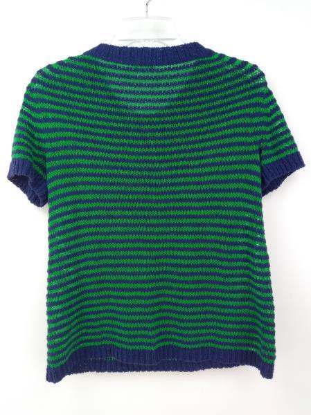 J CREW Blue Linen Blend Stripe Twisted Stitch Henley Short Sleeve Sweater SMALL