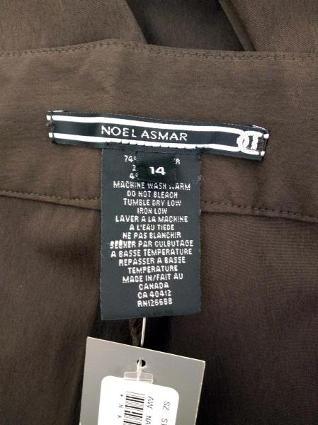 """NOEL ASMAR Spa Uniform Bottoms Chocolate Brown Tailored Pant """"NA020"""" NWT Size 14"""