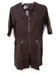"NOEL ASMAR Spa Uniform Top Chocolate Brown ""Lauren"" Zip Tunic Women's XXS ~ NWT"