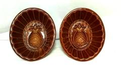 Vintage 1960's Set of 2 Stoneware Brown Pineapple Food Molds Bakeware Wall Decor