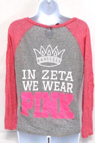 ZTA Sorority T-Shirt Zeta Tau Alpha We Wear Pink Breast Cancer Awareness Small
