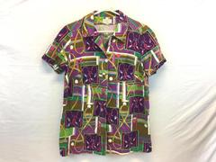 Judy Women's Bright Multi Colored Button Up Short Sleeve Shirt Size L