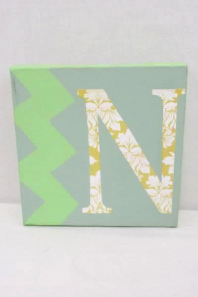 College Dorm Wall Decor Canvas Letter N Floral Picture Jeweled Sm;)e Plaque