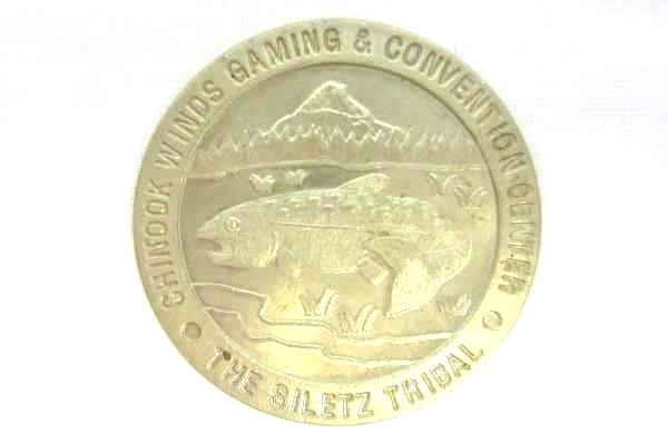 Lot of 2 Chinook Winds Casino $1 Grand Opening 1996 Commemorative Gaming Tokens