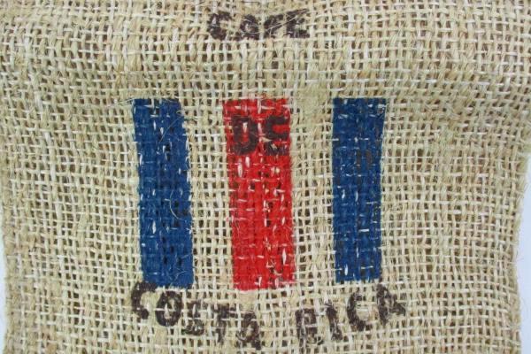 Cafe De Costa Rica Burlap Flag Bag Tote Purse