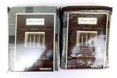 Set of 2 ALLEN + ROTH Curtain Panels ROSEWELL Rod Pocket Brown Check 56 X 84 NEW