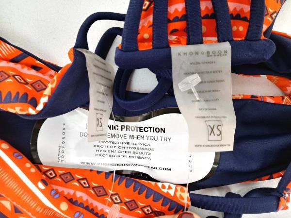 KHONGBOON Ostana Bikini Set Top + Bottom Orange Navy Geometric Print XS NWOT