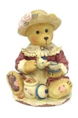 Bear Coin Bank Resin Female Tea Time Cookies Maroon Dress Hat Floral Detail