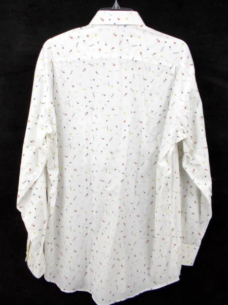St. CROIX Italy White Novelty Sewing Pin Print Button Front Shirt Men's MEDIUM